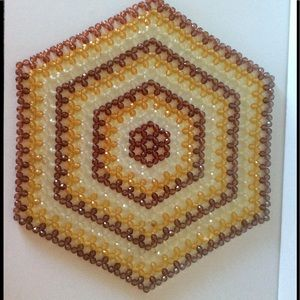 Vintage Beaded Doily Yellow Brown Hexagon Shape
